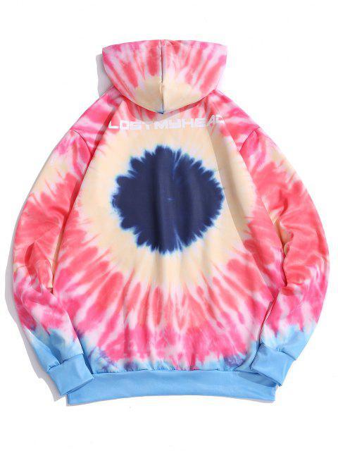 fashion Tie Dye Letter Print Kangaroo Pocket Hoodie - PINK S Mobile