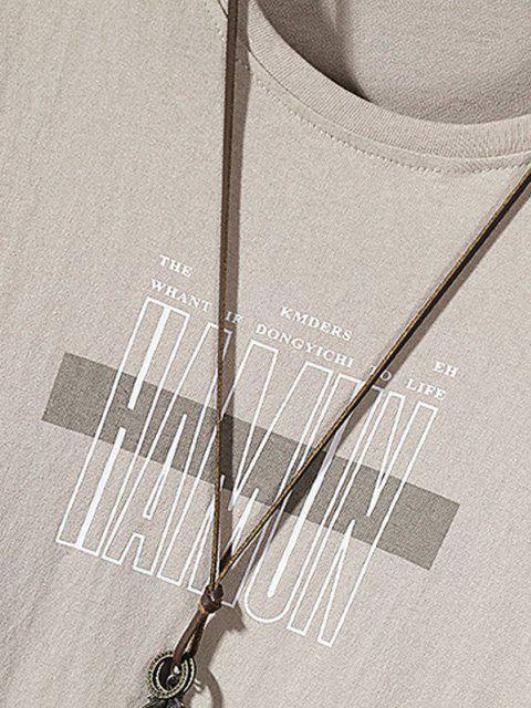 Camisa Impressa com Gola Redonda - Cor de Caqui S Mobile