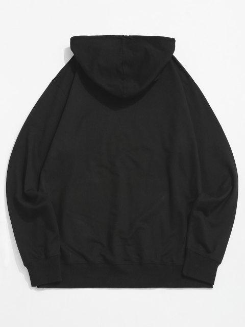 shop Pouch Pocket Boo Graphic Pullover Hoodie - BLACK M Mobile
