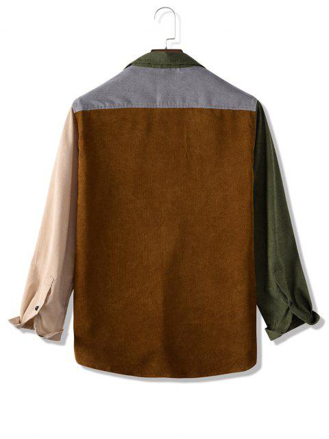 hot Colorblock Panel Corduroy Pocket Patch Shirt - MULTI L Mobile