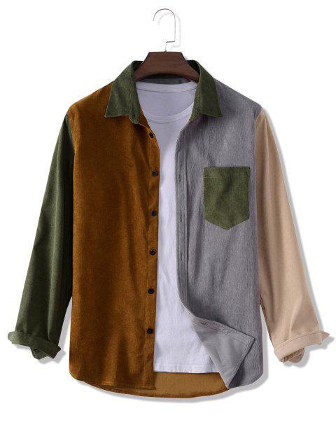 fashion Colorblock Panel Corduroy Pocket Patch Shirt - MULTI 2XL Mobile