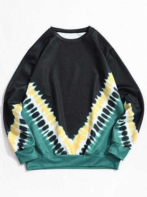 fashion V-shape Tie Dye Print Pullover Sweatshirt - BLACK M Mobile