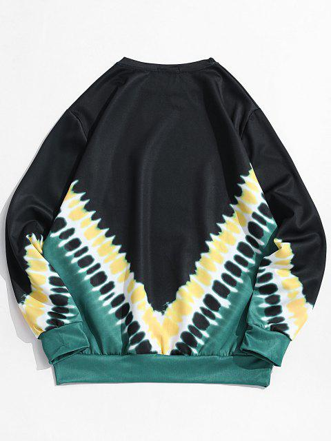 best V-shape Tie Dye Print Pullover Sweatshirt - BLACK XS Mobile