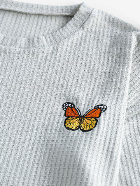 ZAFUL Gestrickte Schmetterling Bestickte Fallen Schulter Shorts Set - Hellgrau M Mobile