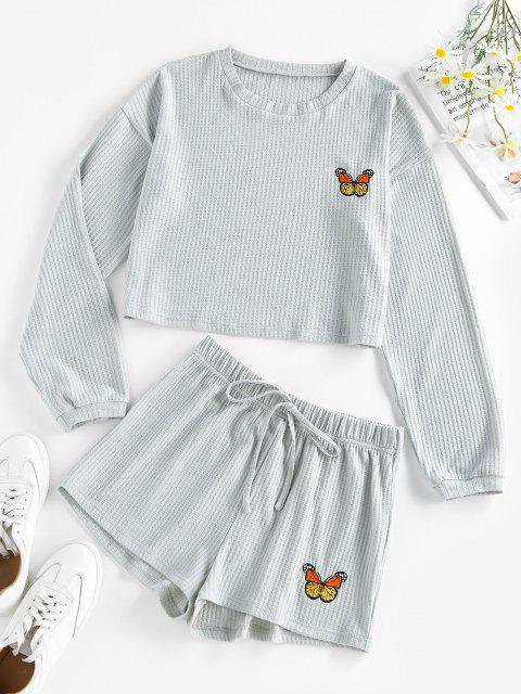 chic ZAFUL Knitted Butterfly Embroidered Drop Shoulder Shorts Set - LIGHT GRAY L Mobile
