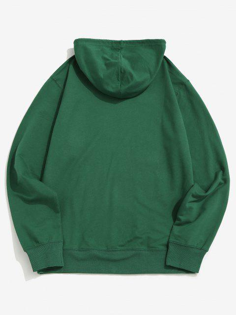 fancy Gothic Cat Graphic Pouch Pocket Pullover Hoodie - DEEP GREEN 2XL Mobile