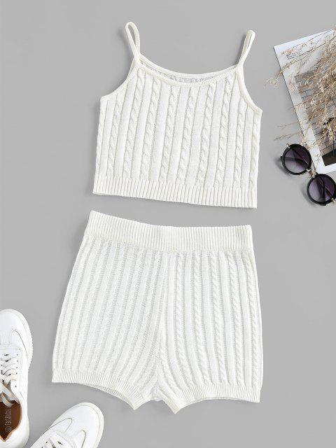 shop ZAFUL Cable Knit High Waisted Sleeveless Pajama Shorts Set - WHITE XL Mobile