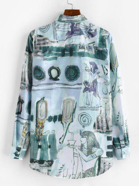 new Ancient Egyptian Print High Low Shirt - MULTI-A M Mobile