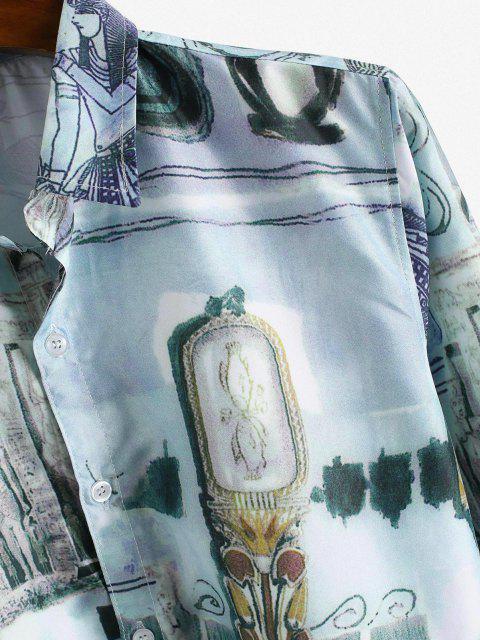 Camisa Asimétrica Estampado Cuello Vuelto - Multicolor-A XS Mobile