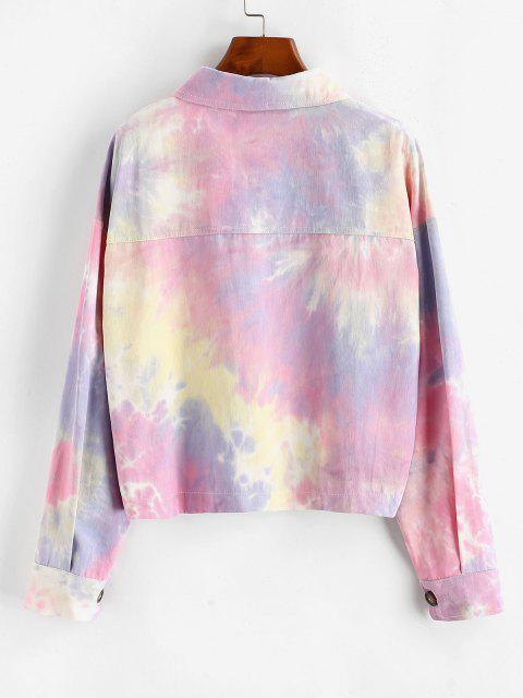 ladies Tie Dye Flap Pockets Shirt Jacket - MULTI-A S Mobile