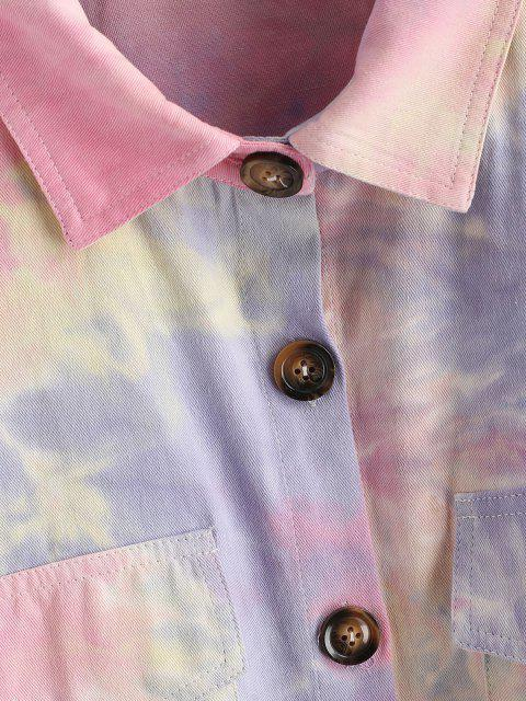 buy Tie Dye Flap Pockets Shirt Jacket - MULTI-A M Mobile