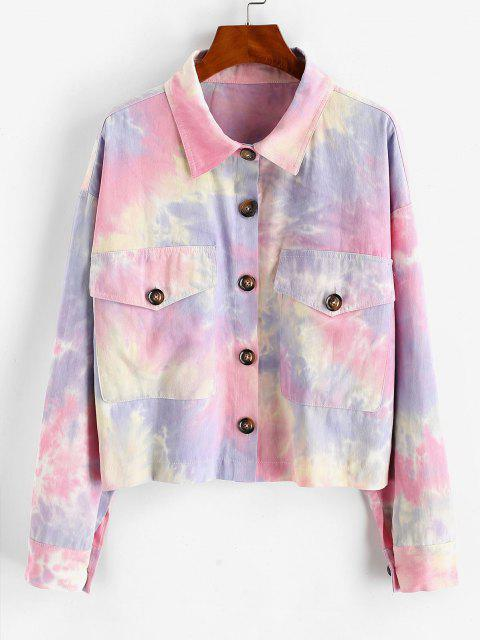 Tie Dye Flap Pockets Shirt Jacket - متعددة-A L Mobile