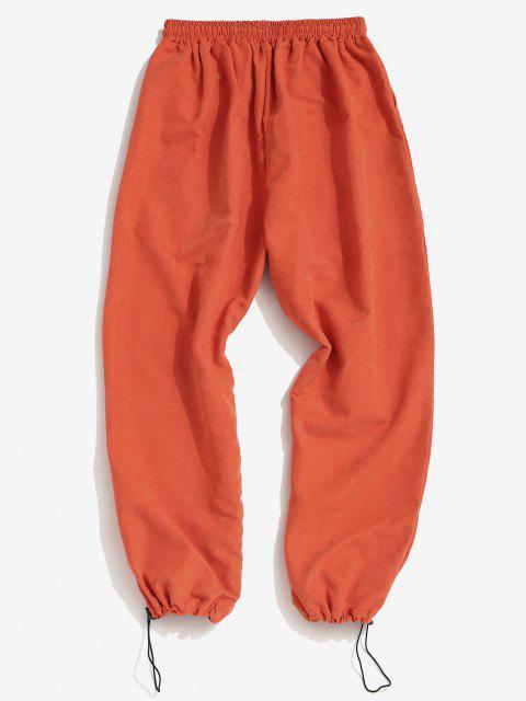 Pantalones Lazo Ajustable Diseño Impreso Letras - Naranja L Mobile