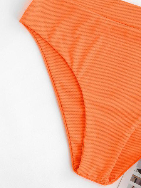 ZAFUL Bas de Bikini Côtelé à Coupe Haute de Grande Taille - Orange Foncé XXL Mobile