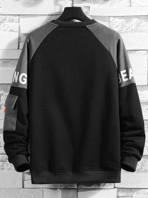 trendy Ralgan Sleeve Letter Print Flap Pocket Sweatshirt - BLACK S Mobile