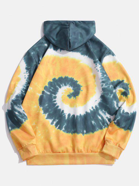 chic Spiral Tie Dye Print Kangaroo Pocket Hoodie - SUN YELLOW XL Mobile