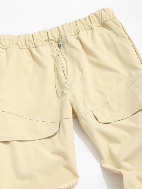 Pantalones Rayados Cintura Elástica Bolsillo Alto - Caqui Claro 3XL Mobile