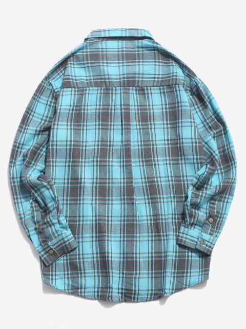affordable Plaid Print Pocket Casual Shirt - LIGHT BLUE XL Mobile