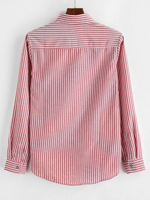 womens Striped Print Letter Applique Pocket Shirt - RED M Mobile