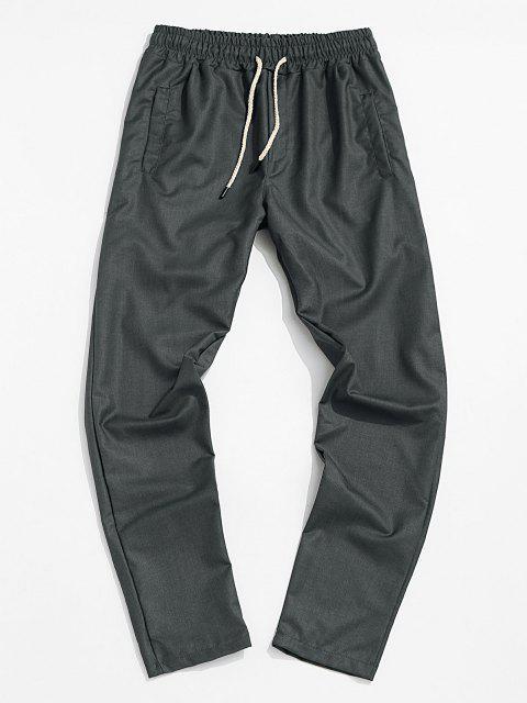 Pantalones Cónicos de Cintura Elástica de Color Sólido - Gris L Mobile