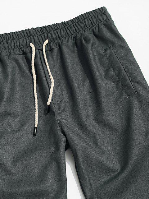 Einfarbige Elastische Taille Verjüngende Hose - Grau XL Mobile