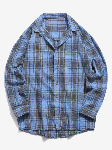 Camisa Casual a Cuadros con Bolsillo y Estampado - Azul XS Mobile
