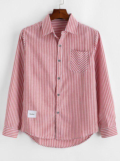 Striped Print Letter Applique Pocket Shirt - أحمر S Mobile