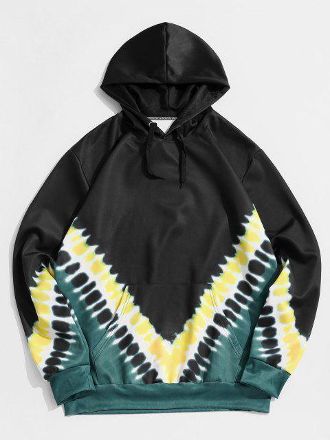 womens Tie Dye Print Kangaroo Pocket Hoodie - BLACK XS Mobile