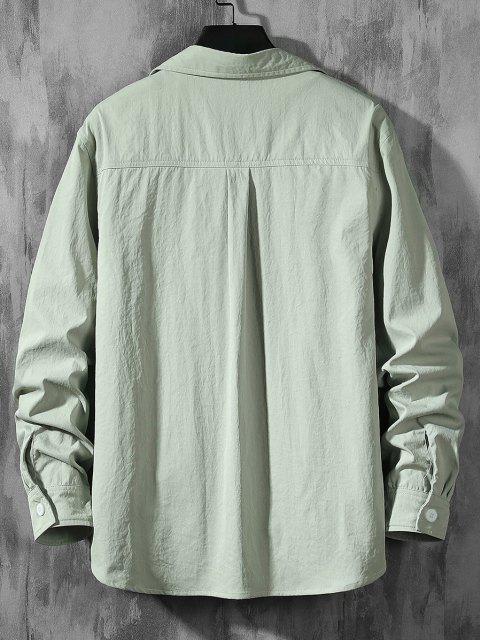 shop Text Print Letter Applique Pocket Shirt - LIGHT GREEN XL Mobile