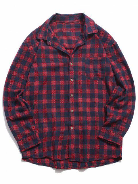 長袖チェック柄を印刷ポケットカジュアルシャツ - 赤 M Mobile