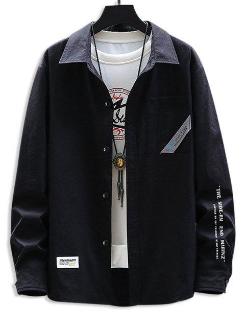 文字柄プリントポケットシャツ - ブラック 2XL Mobile
