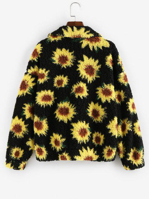 best ZAFUL Faux Fur Flower Print Drop Shoulder Coat - BLACK S Mobile