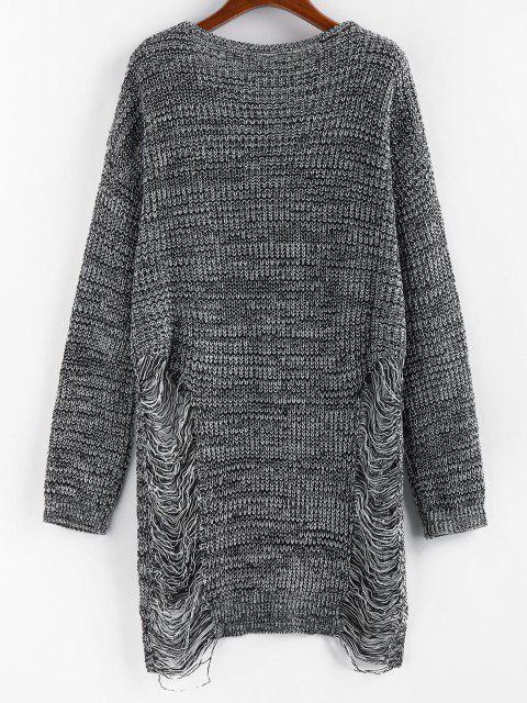 ZAFUL Riss Melierter Lange Tunika Pullover - Schwarz M Mobile