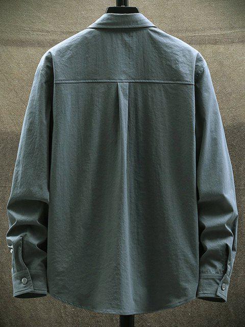 online Letter Print Chest Pocket Long Sleeve Shirt - DARK GRAY L Mobile