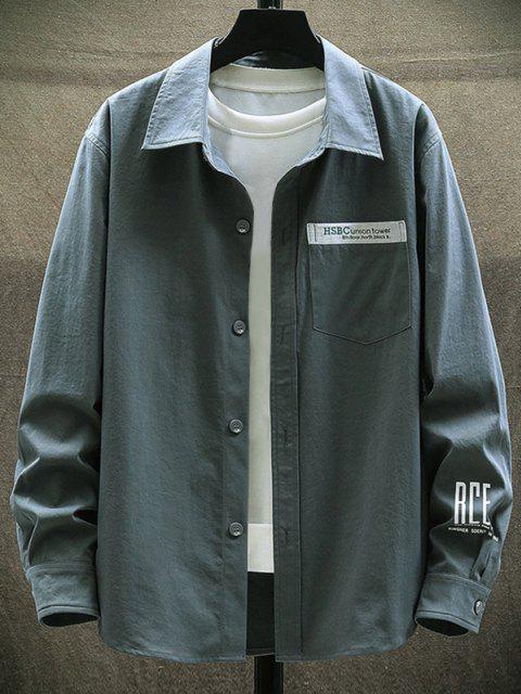 文字を印刷胸ポケットロングスリーブシャツ - 暗灰色 3XL Mobile