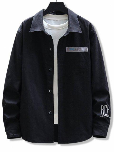 sale Letter Print Chest Pocket Long Sleeve Shirt - BLACK 3XL Mobile