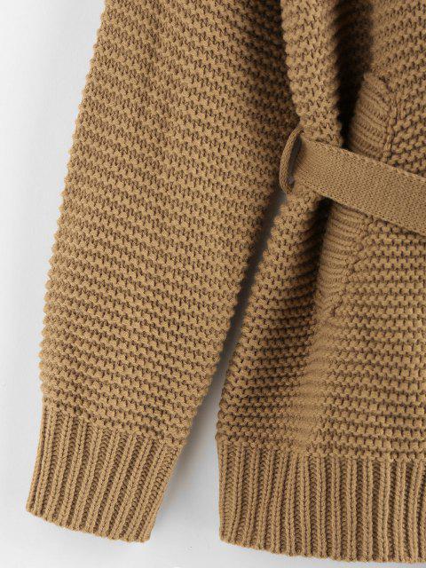 best ZAFUL Belted Drop Shoulder Cardigan - COFFEE L Mobile