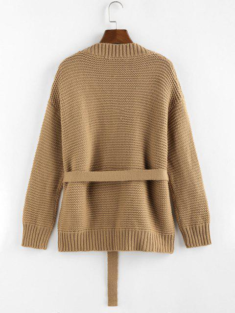 outfit ZAFUL Belted Drop Shoulder Cardigan - COFFEE M Mobile