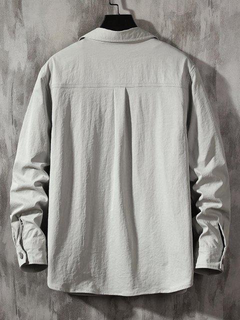 unique Long Sleeve Letter Print Pocket Shirt - LIGHT GRAY M Mobile