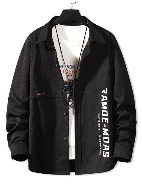 fancy Long Sleeve Letter Print Pocket Shirt - BLACK 3XL Mobile