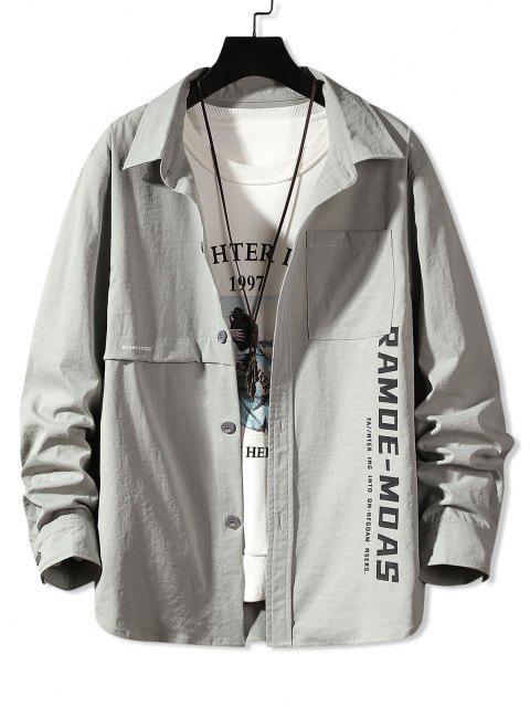 buy Long Sleeve Letter Print Pocket Shirt - LIGHT GRAY 2XL Mobile