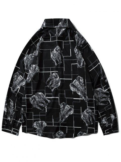 地図象の幾何印刷長袖シャツ - ブラック L Mobile