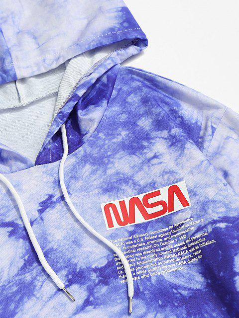 new Letter Graphic Print Tie Dye Hoodie - BLUE 2XL Mobile