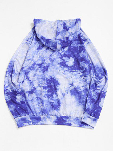 lady Letter Graphic Print Tie Dye Hoodie - BLUE XL Mobile