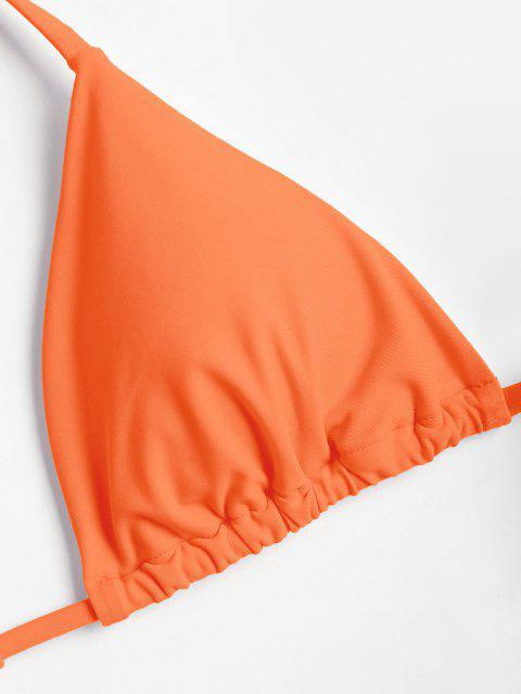Hochgeshcnittenes Halfter Kirsch Bikini Set - Dunkles Orange L Mobile