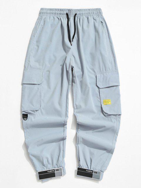 Jogger Pantalones de Cargo con Cordón - Azul Claro L Mobile