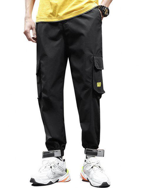 ladies Letter Applique Drawstring Cargo Jogger Pants - BLACK L Mobile