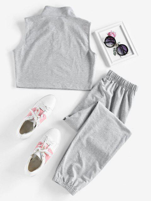 ZAFUL Half Zip Sleeveless Drawstring Sports Pants Set - رمادي فاتح S Mobile