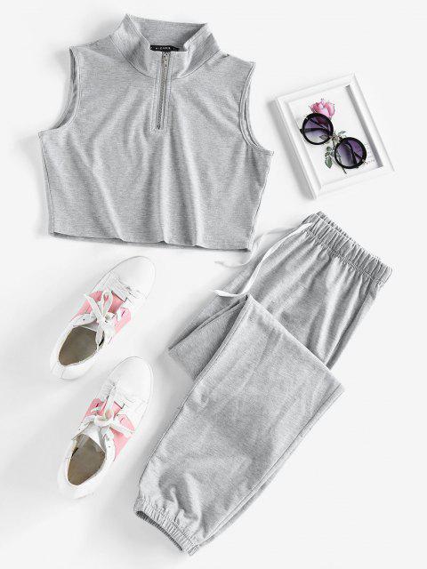 outfit ZAFUL Half Zip Sleeveless Drawstring Sports Pants Set - LIGHT GRAY M Mobile