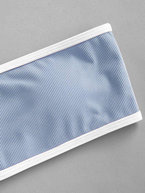 chic ZAFUL Ribbed Binding Bandeau Bikini Swimwear - LIGHT BLUE S Mobile